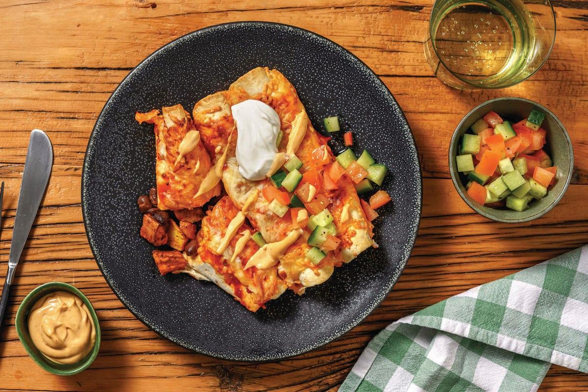 American Sweet Potato & Black Bean Enchiladas