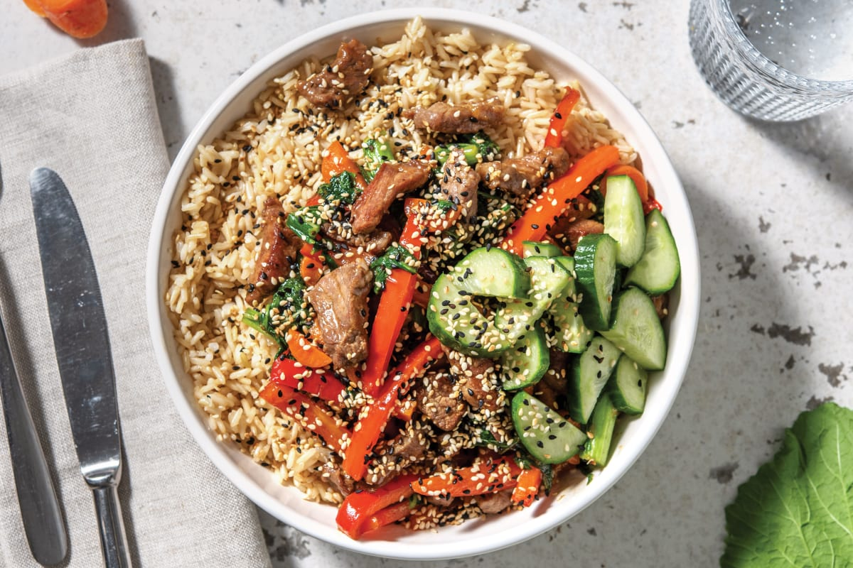 Asian Beef & Brown Rice Bowl with Pickled Cucumber & Sesame Seeds