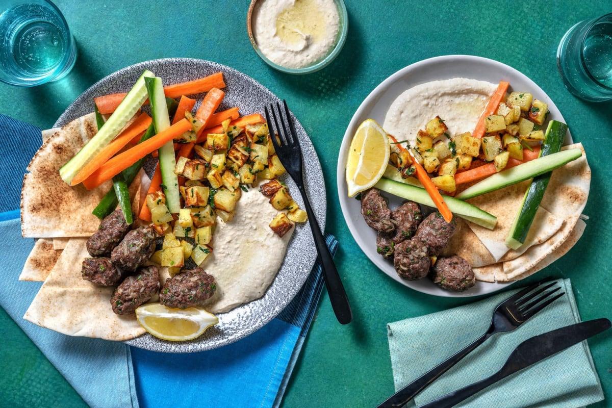Assiette libanaise de kefta & houmous fait maison