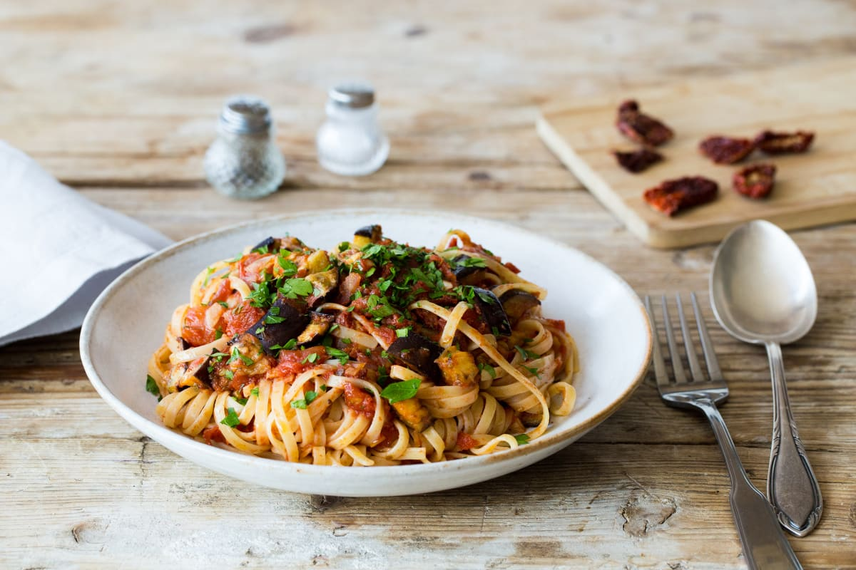 Aubergine Linguine with Chilli and Sun-Dried Tomato