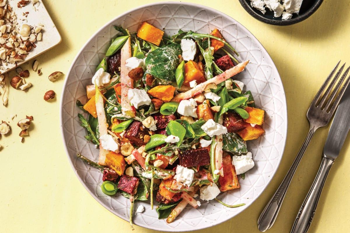 Dukkah Roasted Sweet Potato & Beetroot Salad