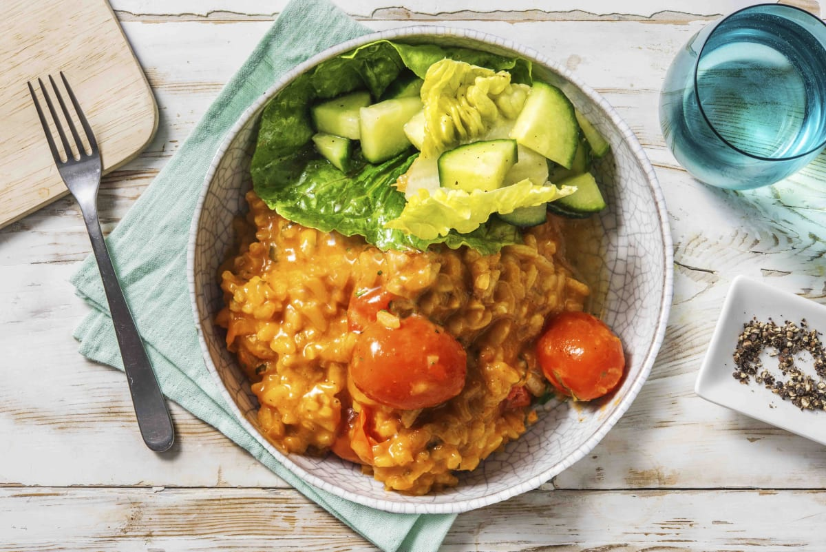 Oven-Baked Cheesy Tomato Risotto