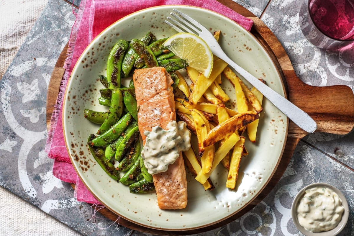 Baked Salmon and Chips
