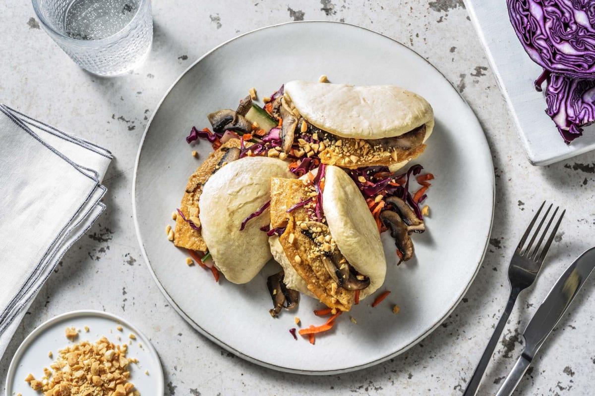 Bao buns végétariens au portobello & omelette au soja