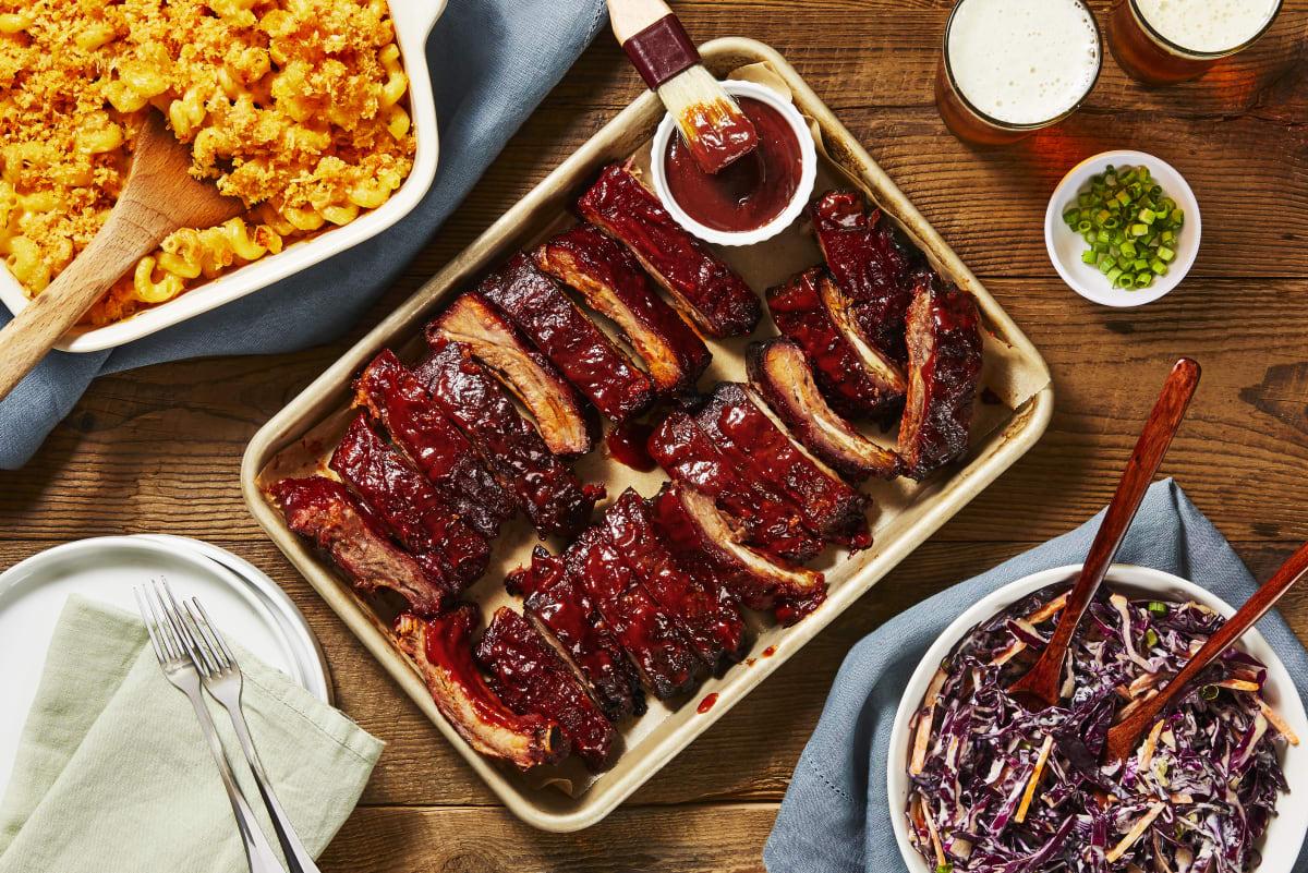 BBQ Baby Back Ribs & Cheesy Buffalo Mac