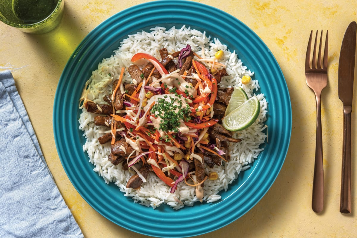 Spiced Beef with Corn Slaw, Rice & Chipotle Mayo