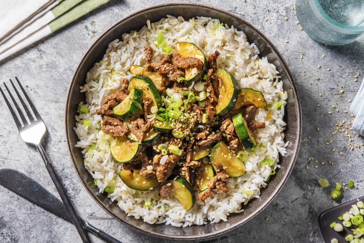 Beef and Zucchini Yakitori-Style Bowl