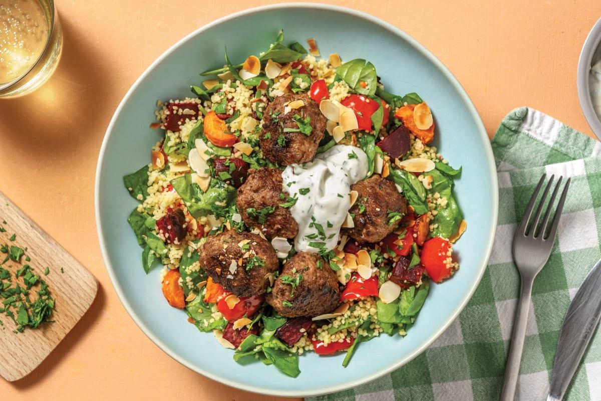 Beef Meatballs & Roast Veggie Couscous
