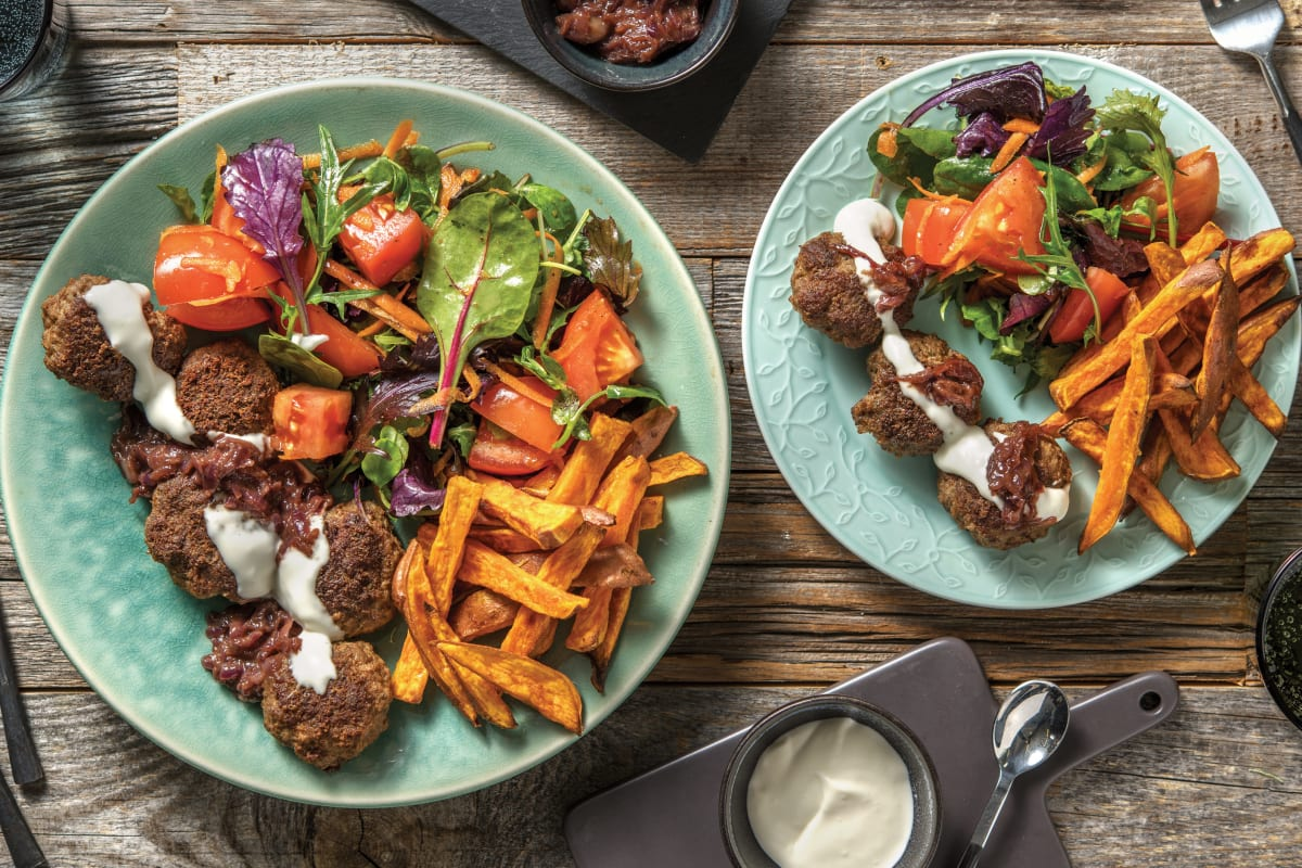 Cheesy Beef Rissoles & Kumara Fries