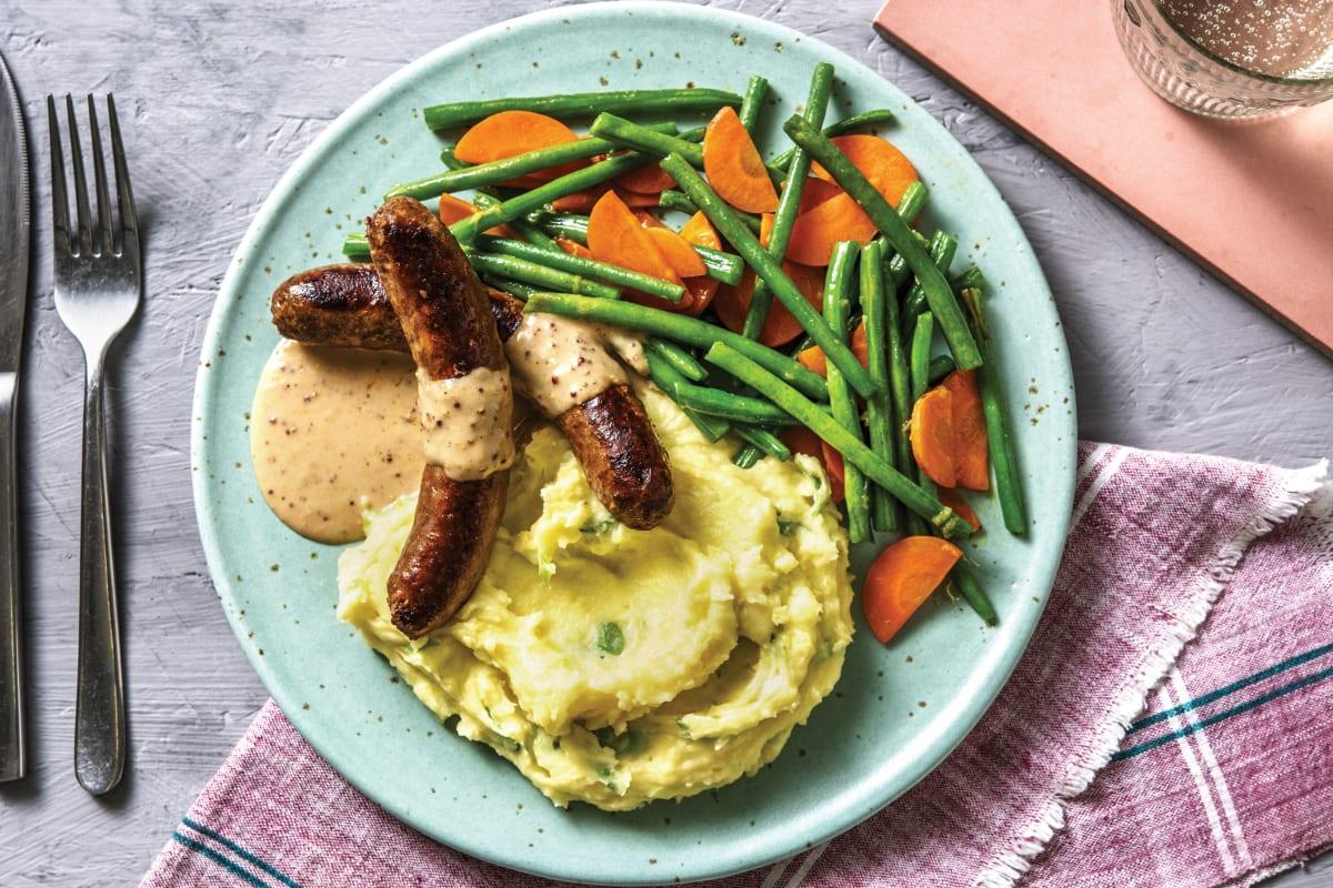 Pork Sausages & Creamy Mustard Sauce