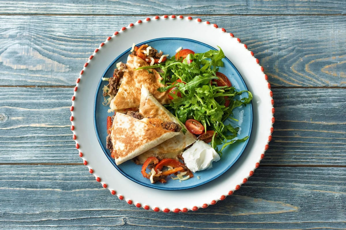 Black Bean and Charred Bell Pepper Quesadillas