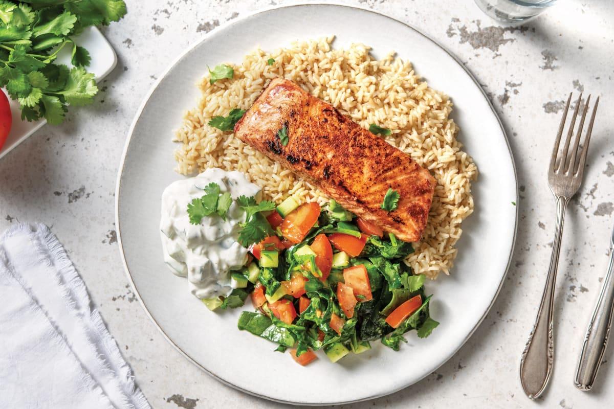 Blackened Salmon Tikka & Brown Rice with Tomato Salad & Cucumber Raita