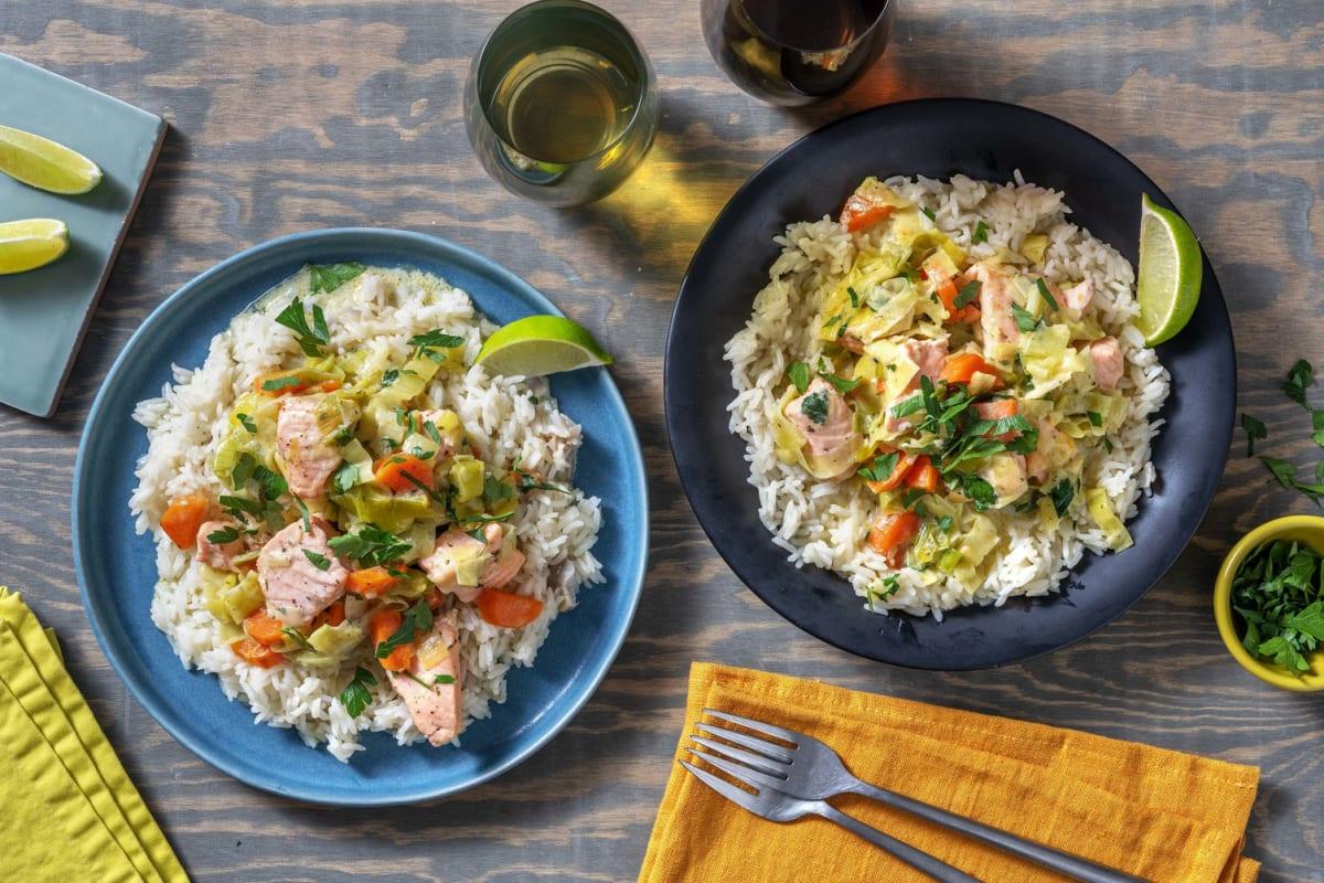 Blanquette de saumon aux poireaux & carottes
