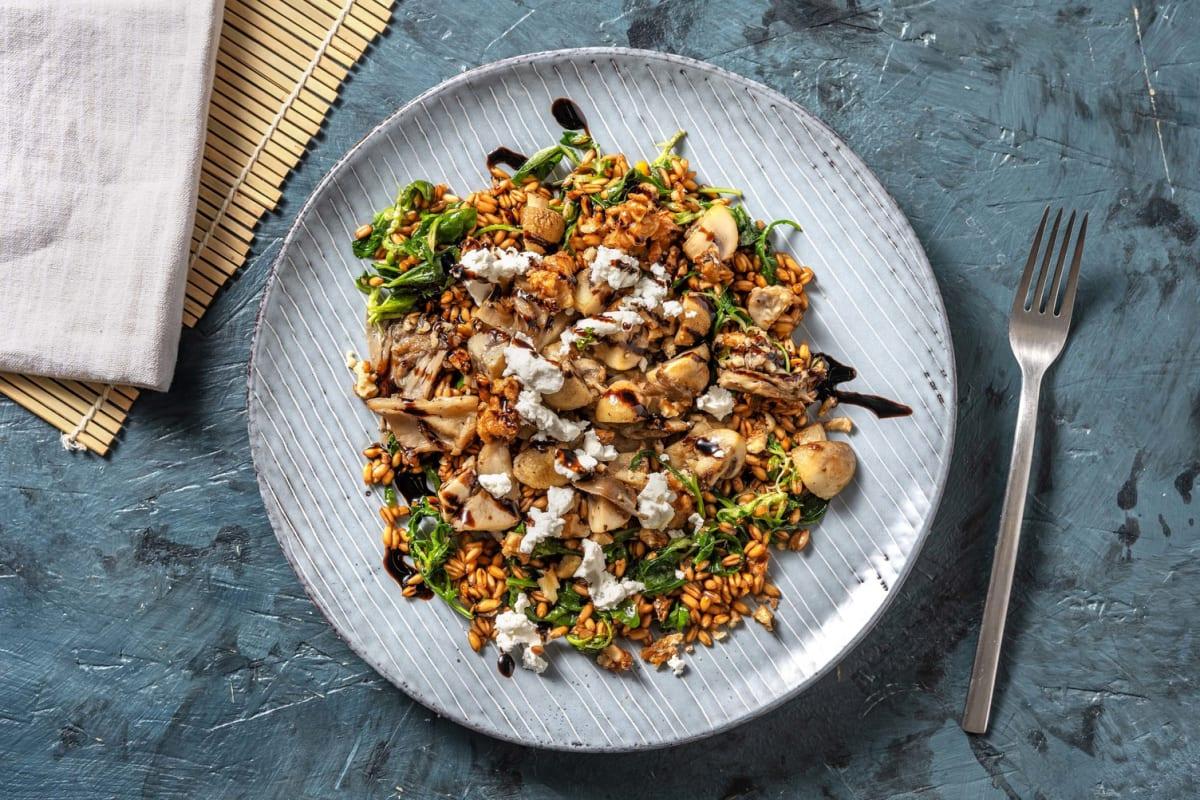 Garlicky Mixed Mushroom Farro Bowl