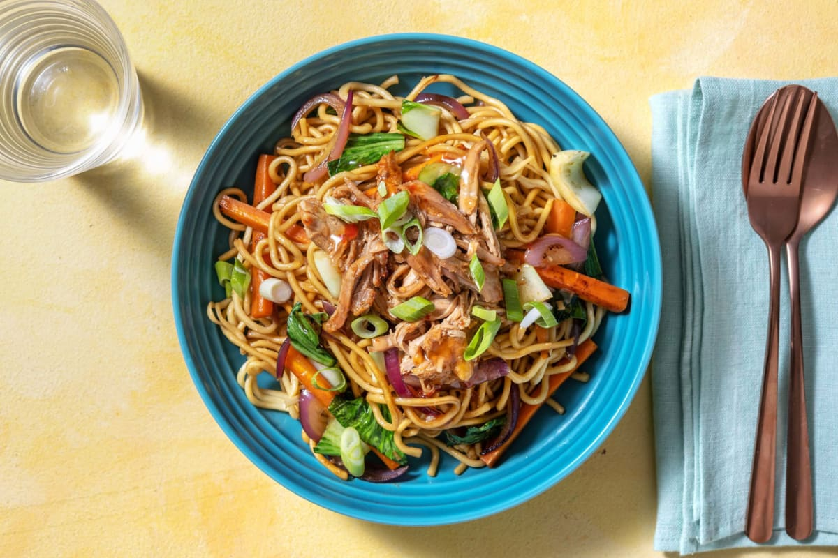 Sweet and Spicy Pulled Pork Noodle Bowl