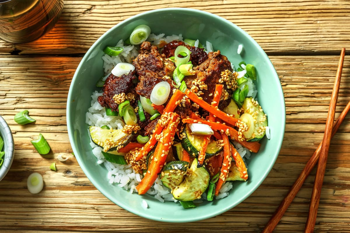 Bibimbap Rice Bowl and Spicy Sesame Sauce