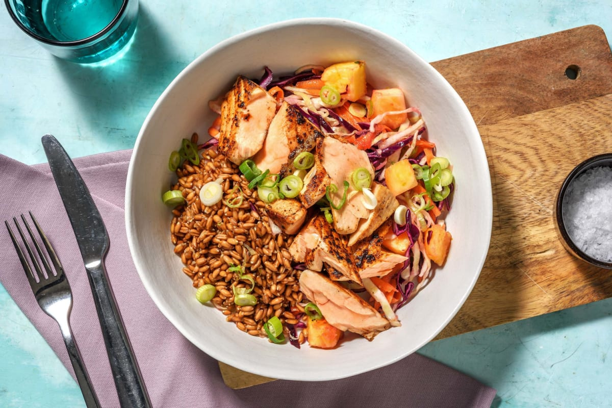 Jerk Spiced Salmon and Farro Bowl