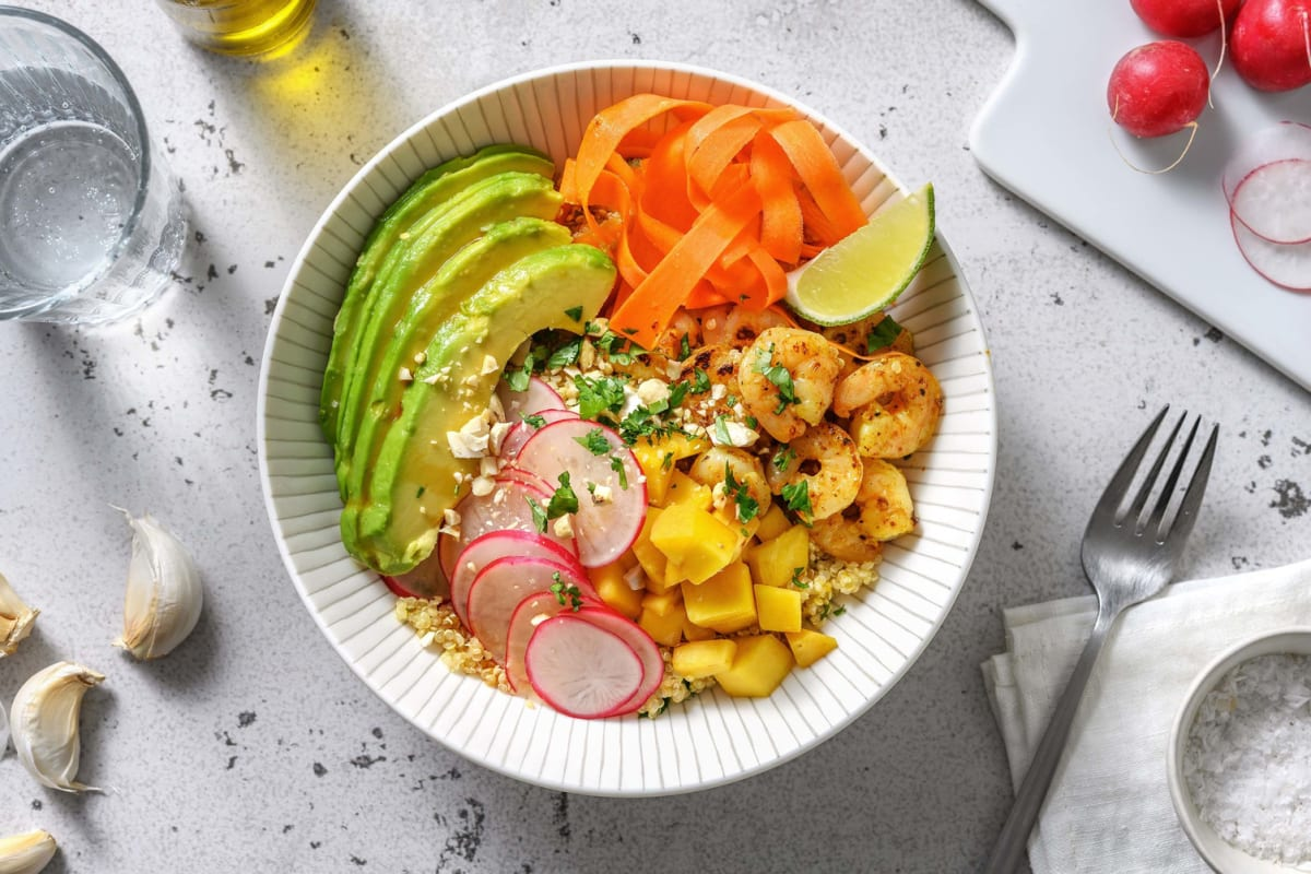 Buddha bowl : quinoa, crevettes & avocat