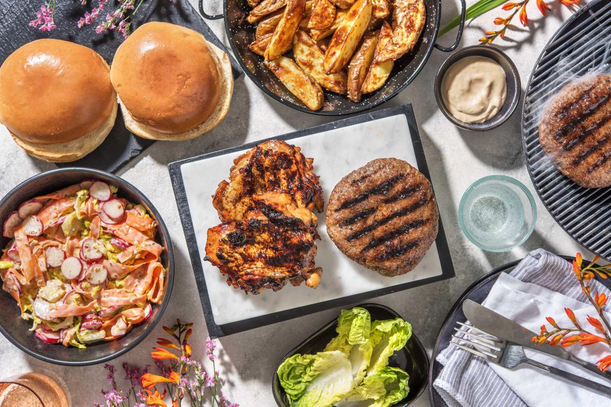 Bulgogi Burger and Sticky BBQ Chicken