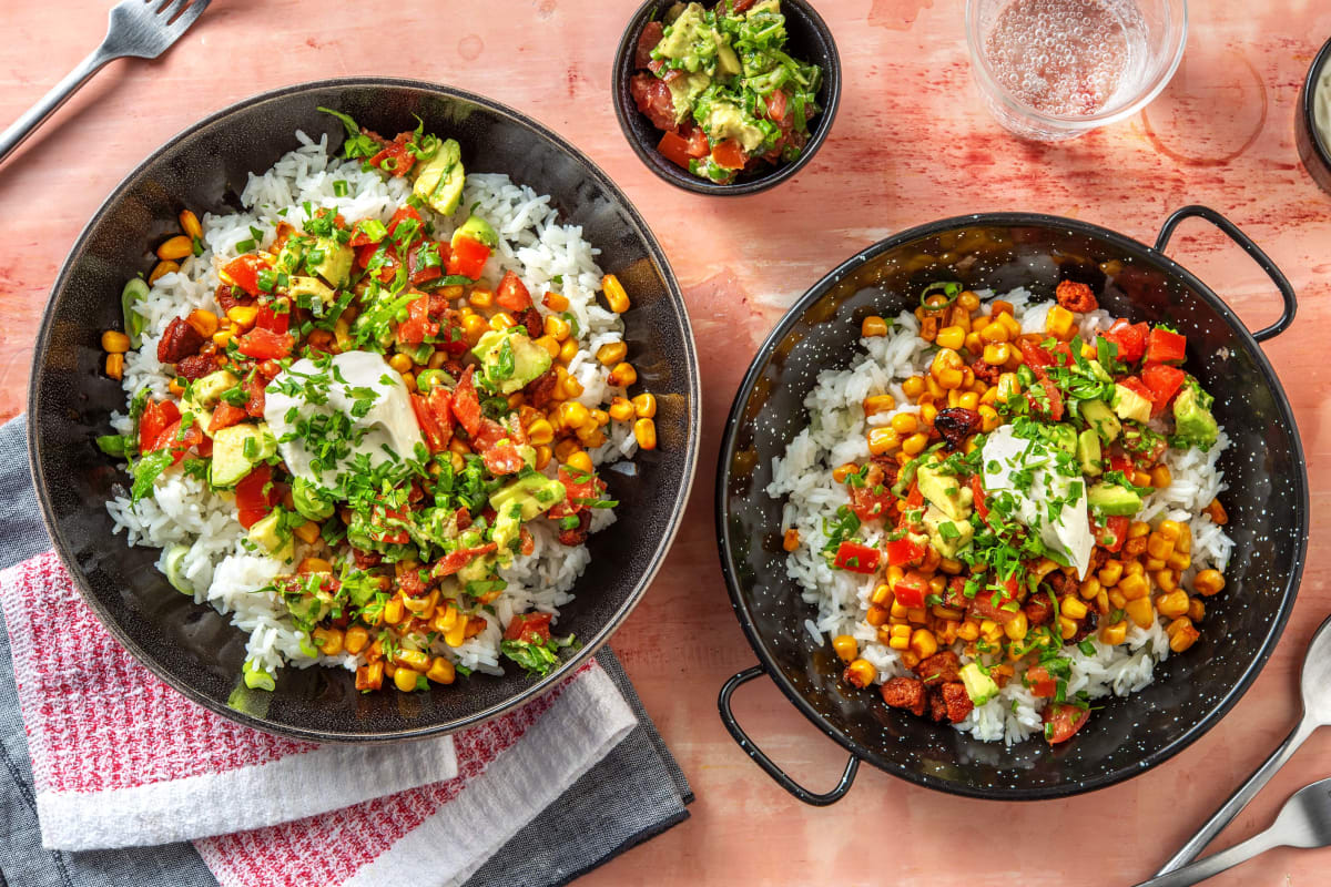 Burrito-Bowl mit Chorizo