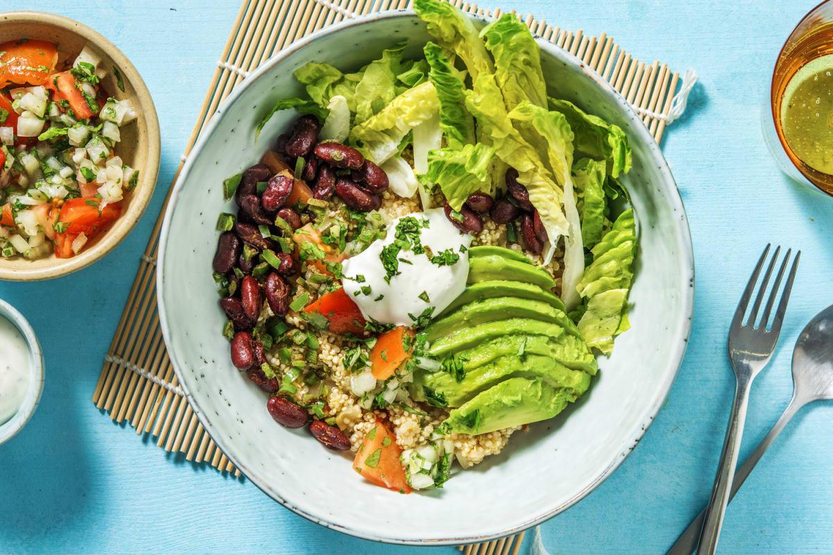 Burrito-Bowl mit Tomaten-Quinoa