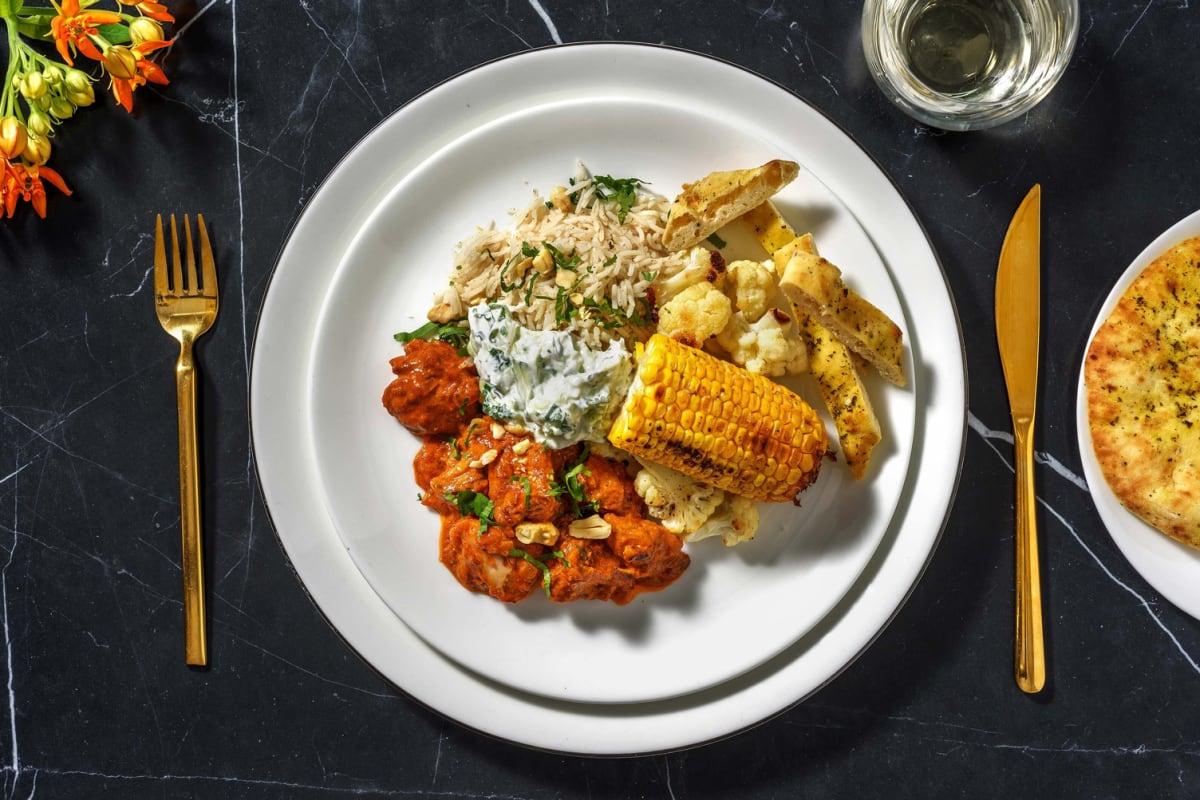 Butter chicken met rijst en zelfgemaakte raita