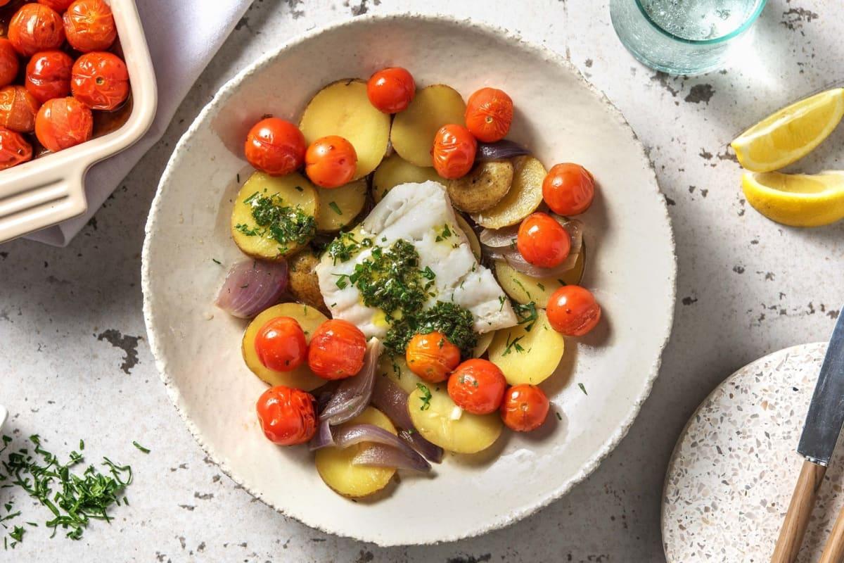 Mediterrane kabeljauw met zelfgemaakte kruidenboter