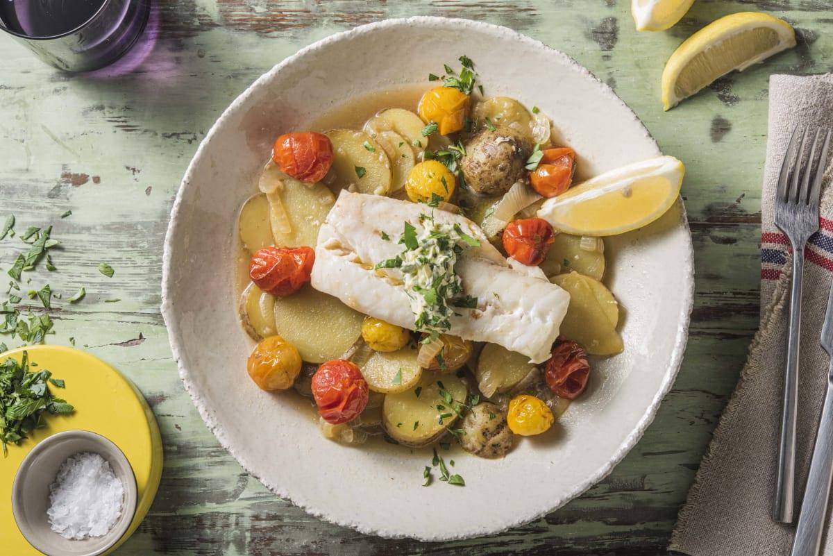 Cabillaud à la méditerranéenne et pommes de terre à l'étuvée