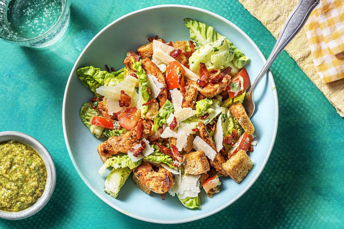 Caesar-Salat mit Bärlauch-Käse-Dressing