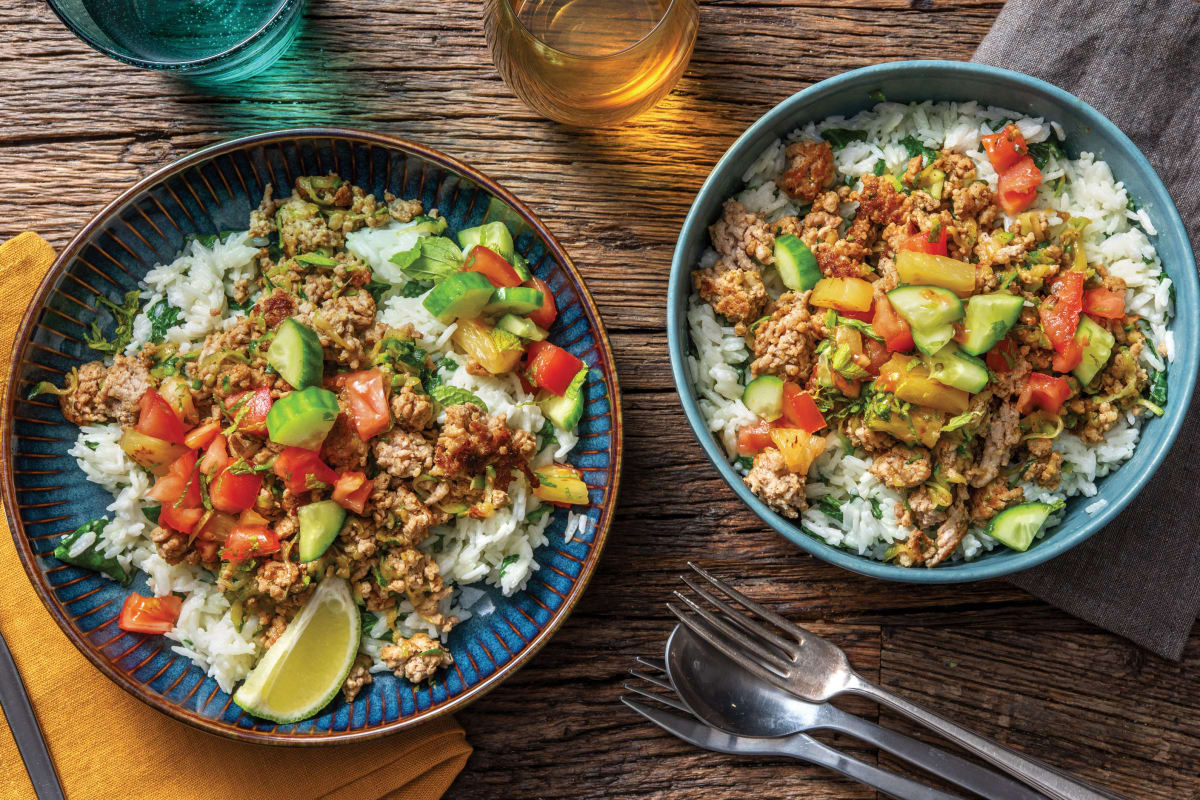 Caribbean Pork Bowl & Charred Pineapple Salsa