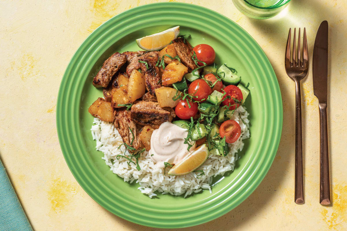 Caribbean Pork & Pineapple Rice Bowl with Salsa