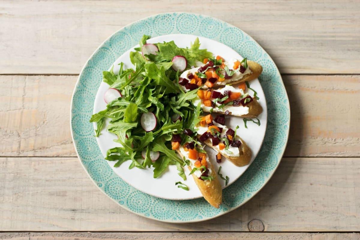 Carrot & Beet Bruschetta Toasts