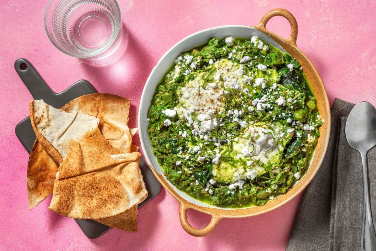 Groene shakshuka met linzen en spinazie