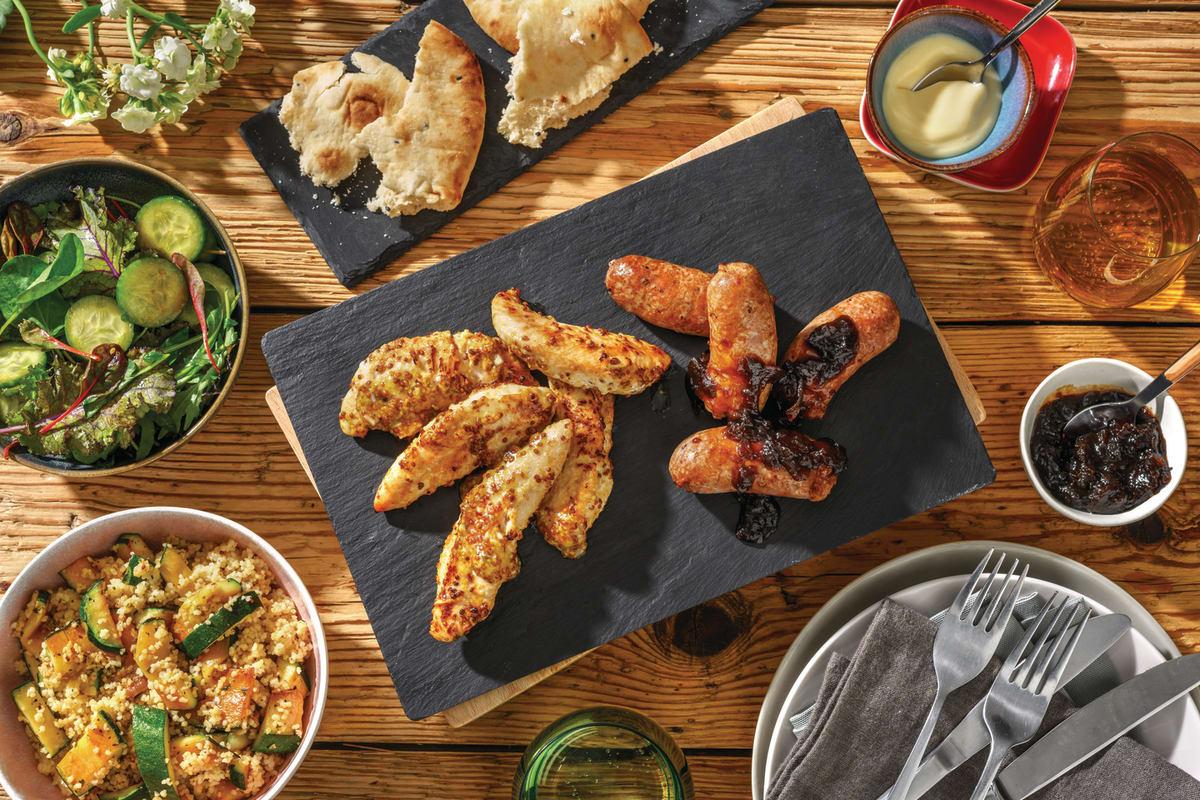 Chargrilled Honey-Mustard Chicken & Lamb Chipolatas