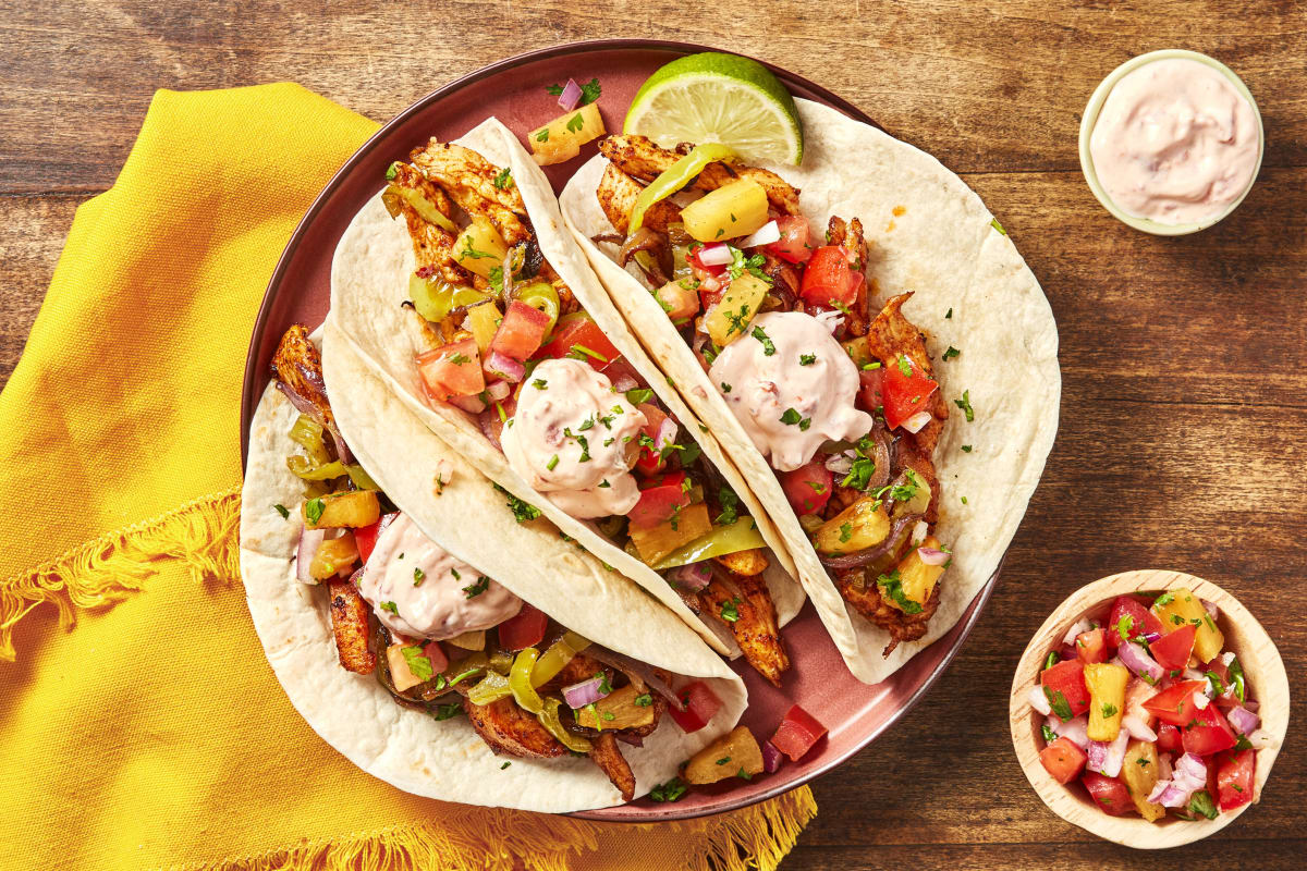 Charred Pineapple Chicken Tacos