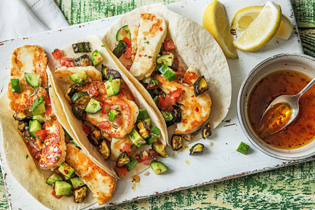 Cheese-Filled Mediterranean Tacos