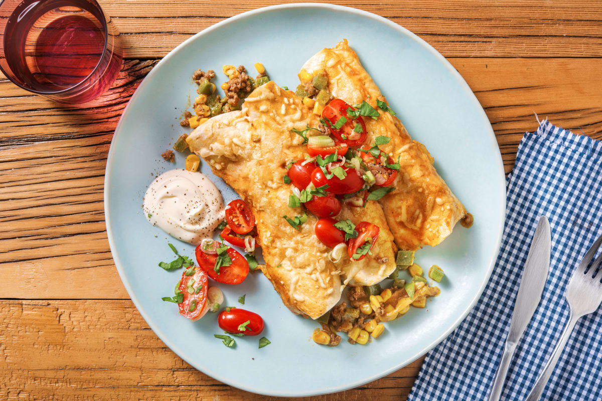 Cheesy Beef, Pepper and Corn Enchiladas