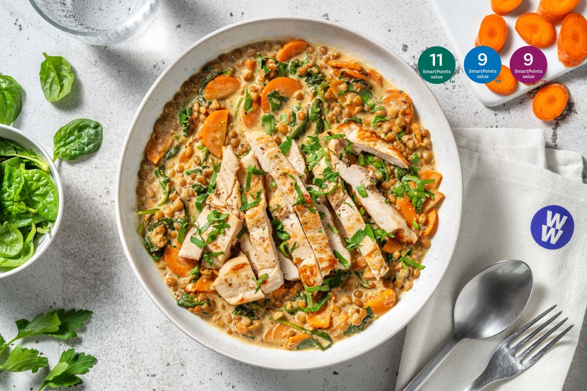 Chicken and Mustardy Creamy Lentils