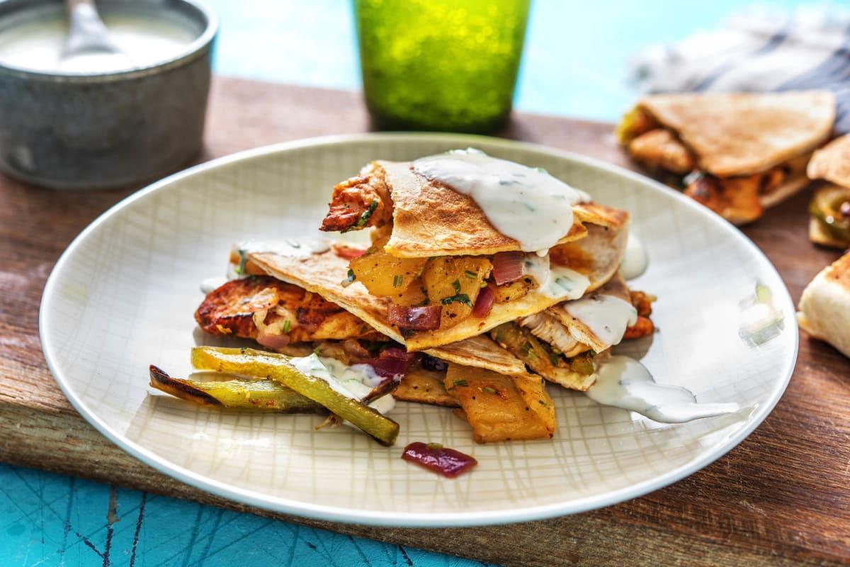 Chicken and Pineapple Mini Quesadillas