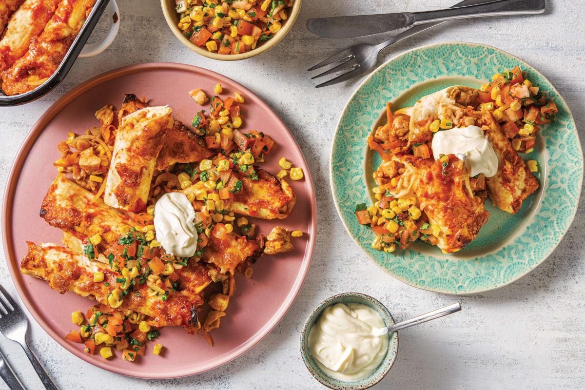 Chicken & Charred Corn Enchiladas