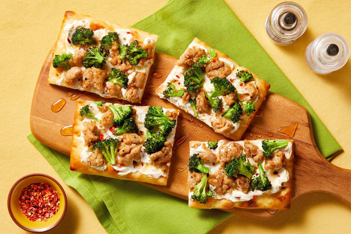 Chicken Sausage & Broccoli Flatbreads