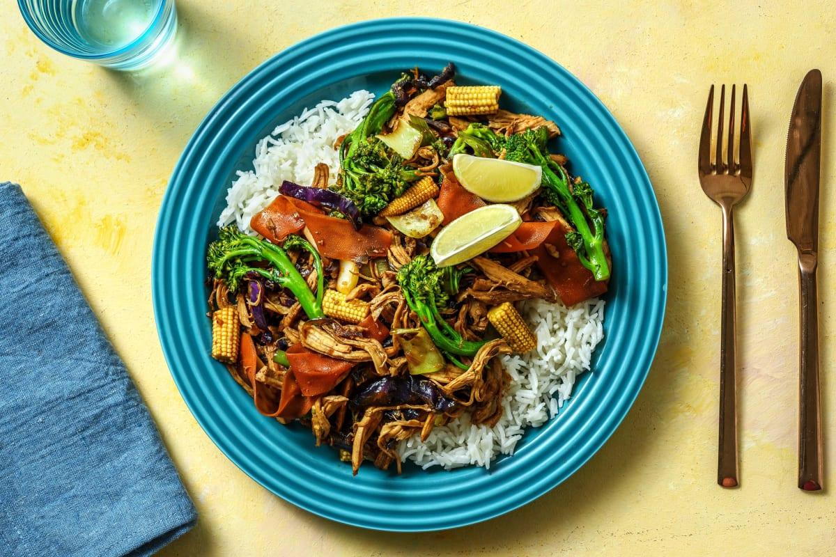Chicken, Sriracha & Rainbow Vegetable Stir Fry
