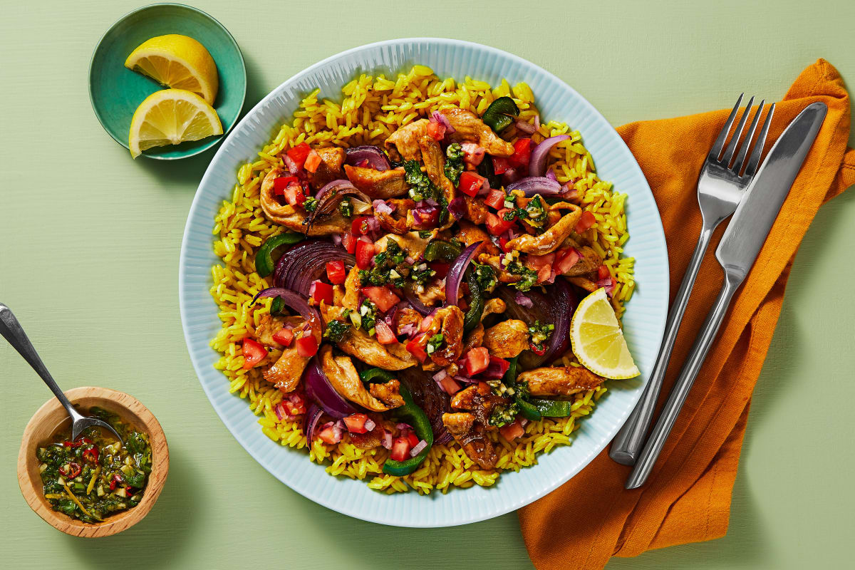 Chimi Chicken and Yellow Rice Bowls