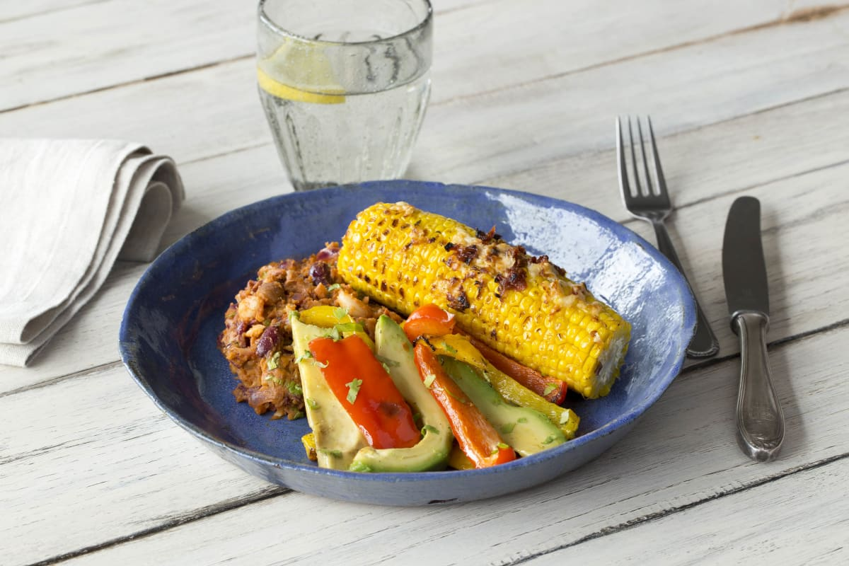 Chipotle Corn on the Cob with Homemade Refried Beans