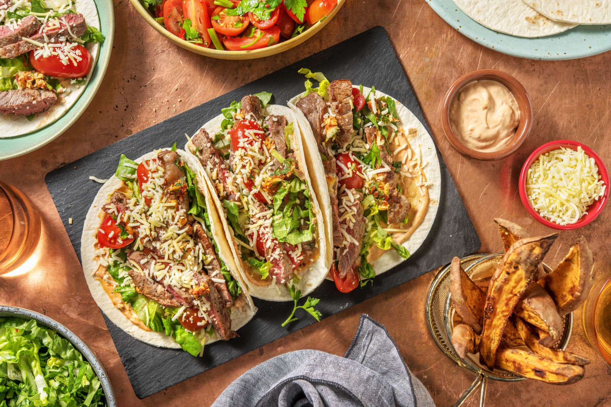 Chipotle Steak Tacos and Chimichurri Tomato Salad