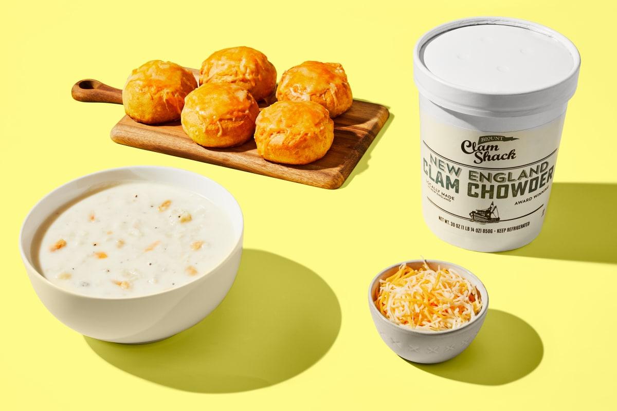 Clam Chowder & Cheesy Buttermilk Biscuits