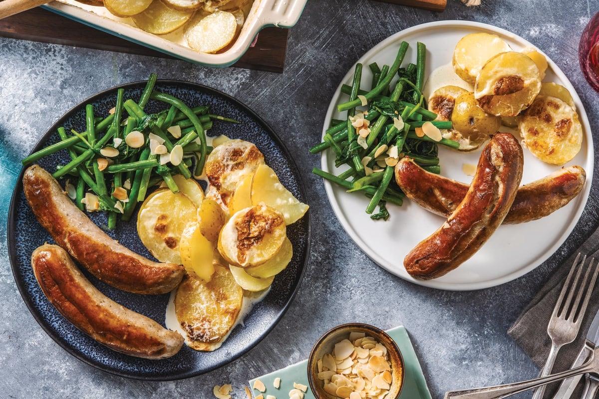 Classic Pork Sausages & Scalloped Potatoes