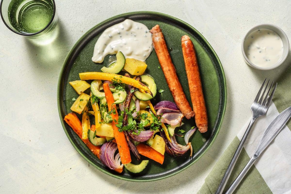 Classico-Bratwurst mit buntem Wurzelgemüse-Salat