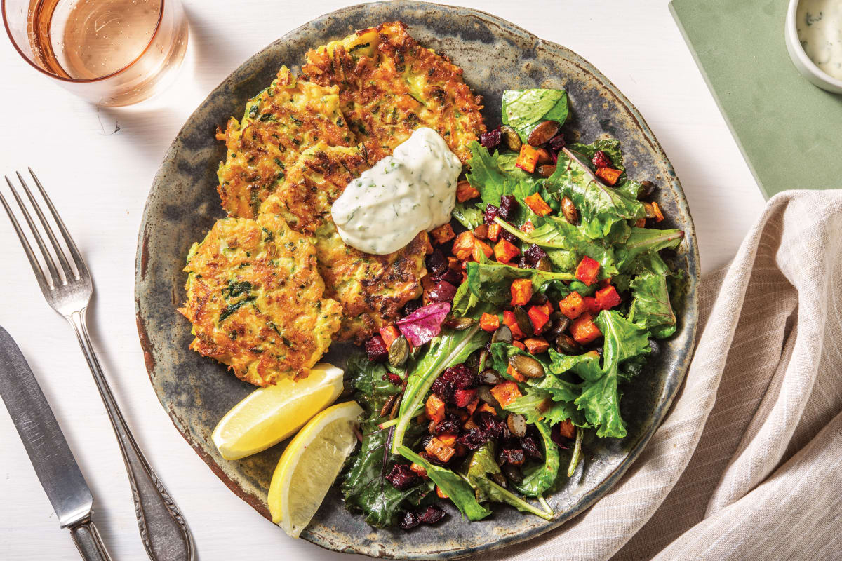 Golden Courgette, Carrot & Cheddar Fritters