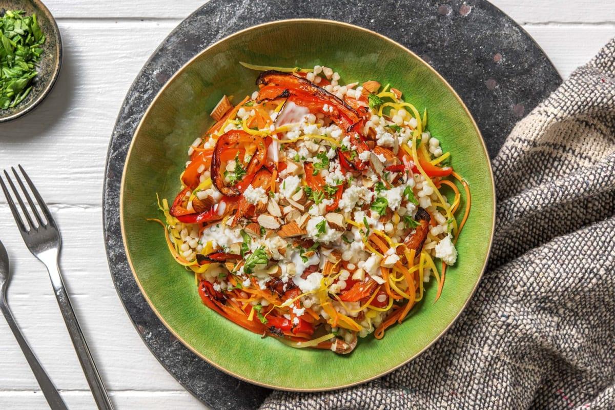 Parelcouscous met geroosterde paprika en witte kaas